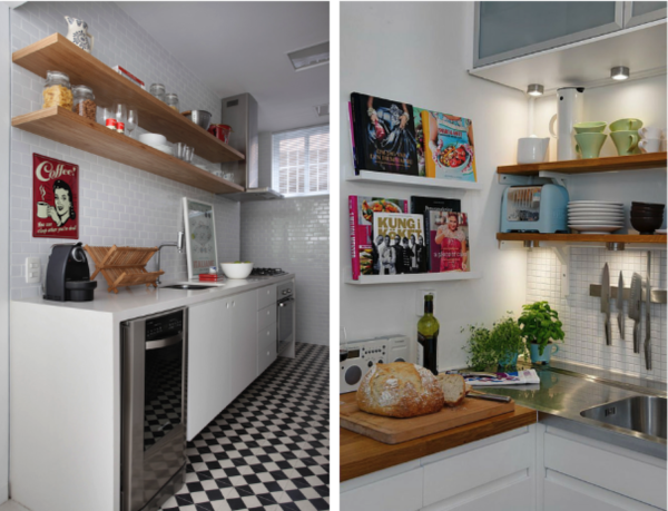 prateleiras de madeira cozinha parede pastilha ceramica branca