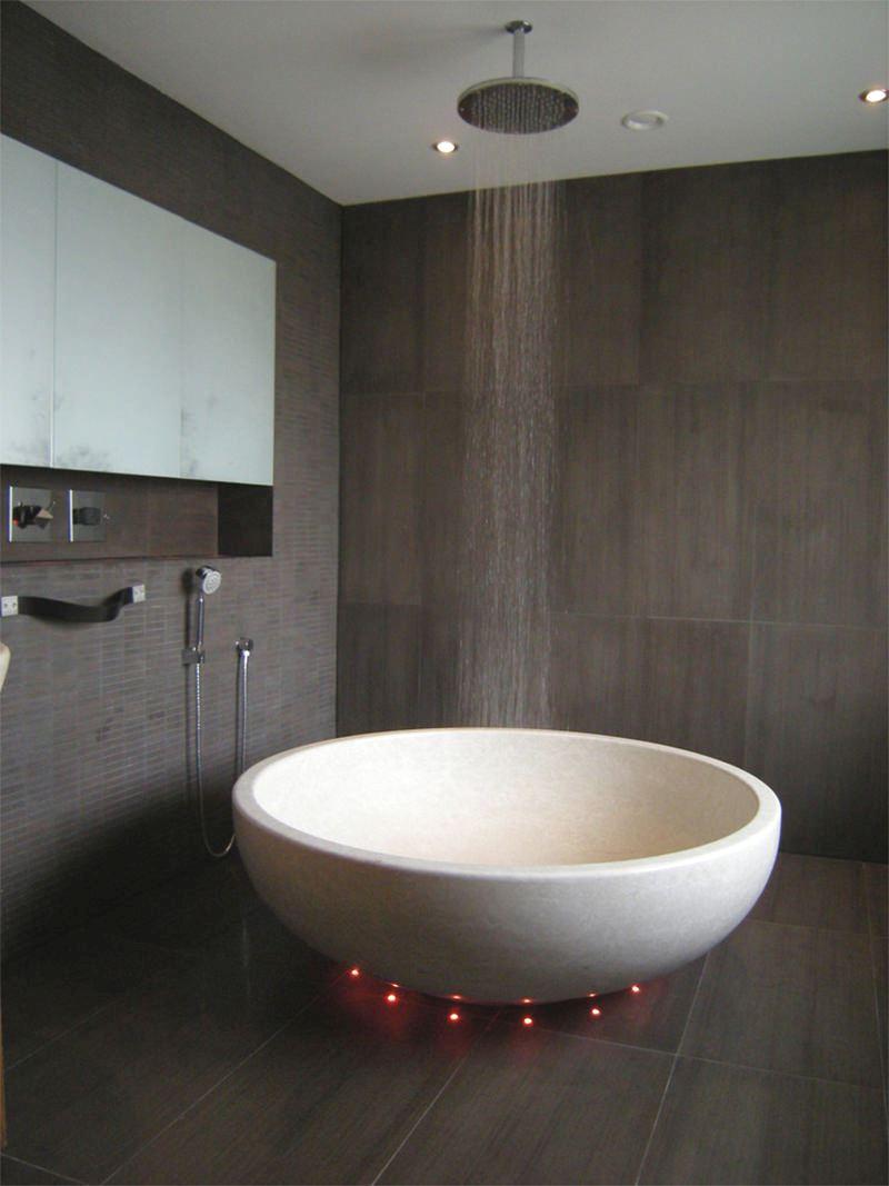 banheira redonda led colorido chuveiro ducha teto