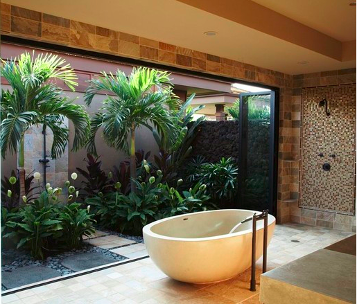 banheiro com jardim de inverno integrado varanda