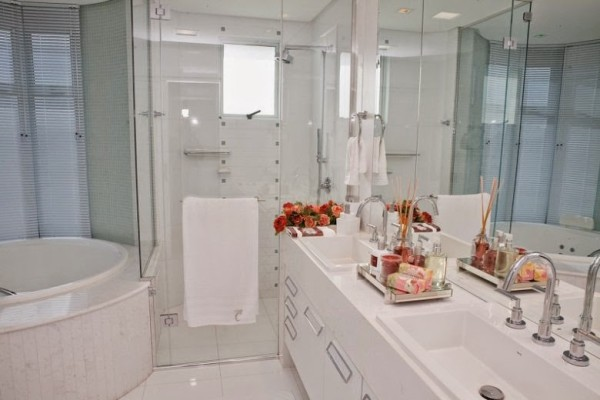 banheiros brancos cuba ceramica embutida