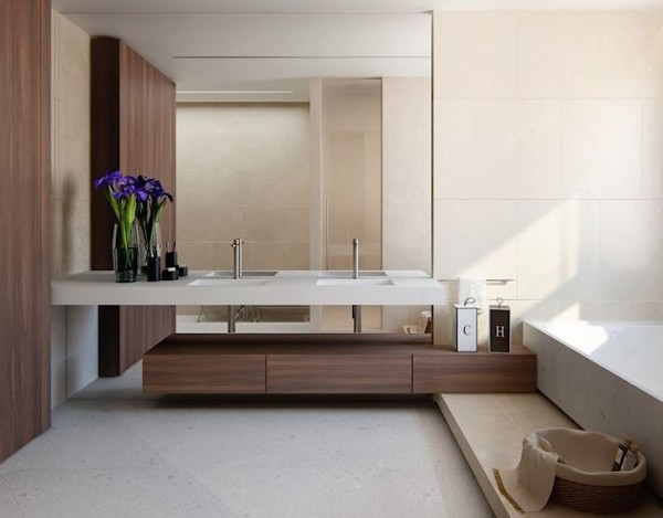 banheiros com madeira assim eu gosto