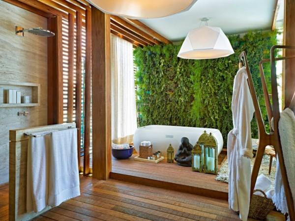 banho spa em casa piso madeira jardim vertical