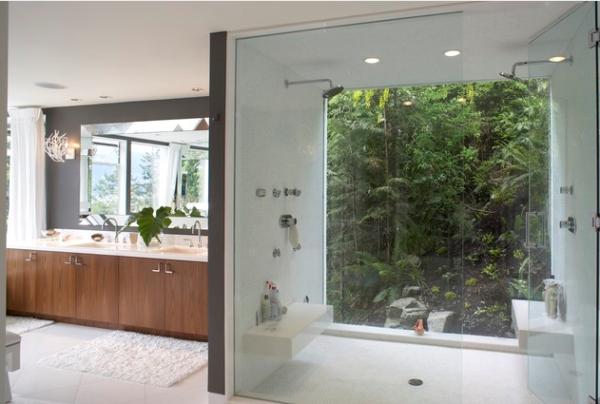 casa contemporea elegante banho casal com jardim