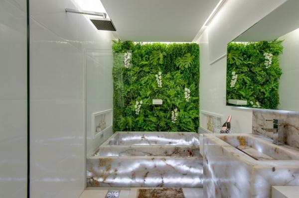 dicas banho lavabo tendencia marmore iluminado jardim inverno