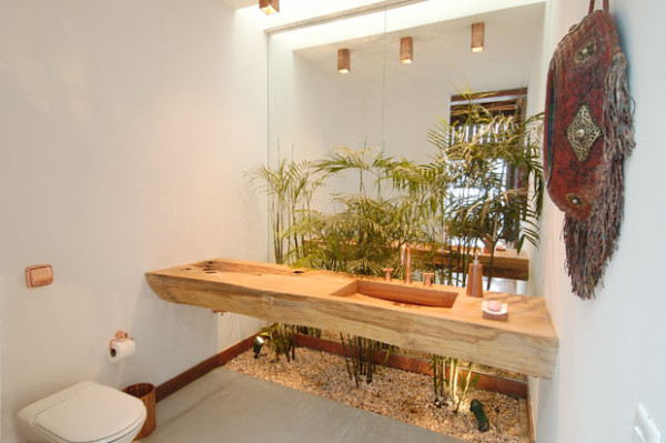 lavabo com jardim bancada madeira natural tora cuba esculpida