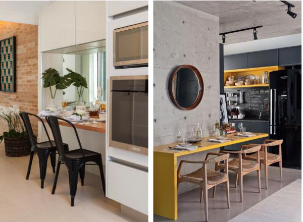 mesa amarela cozinha preta torre quente forna microondas
