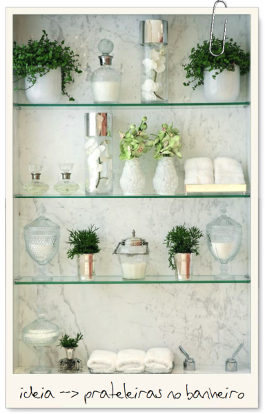 nicho prateleiras vidro banheiro perfume shampoo