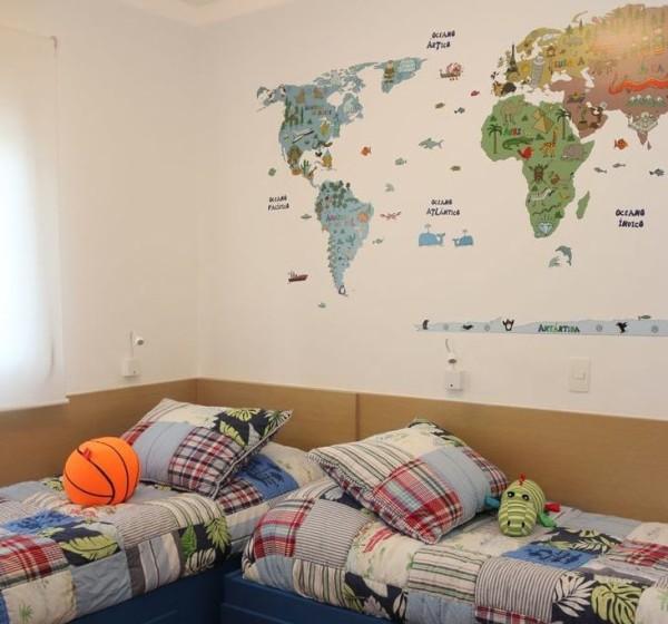 parede mapa adesivo parede cama laca azul quarto kids