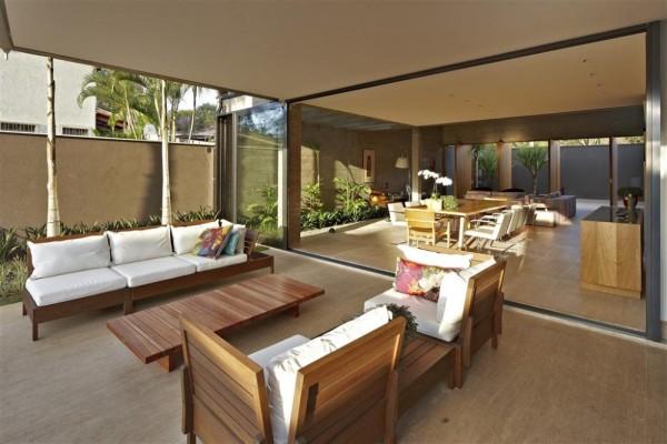 projeto casa contemporanea sala varanda com mesmo piso