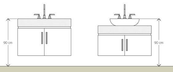 Banheiros de casal com duas cubas na bancada -> Altura De Pia Para Banheiro Infantil