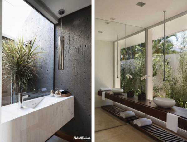banheiro bancada solta espelho lateral