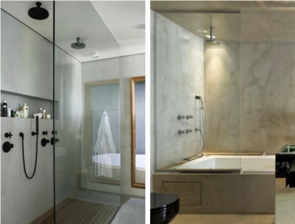 banheiro moderno parede cimento queimado ducha chuveito preto