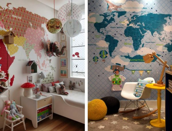 mapa mundi quarto crianca