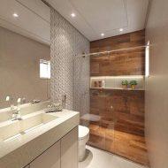 Banheiros com piso e parede iguais