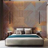 Quartos com painel de madeira atrás da cama