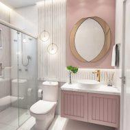 Armário colorido no banheiro